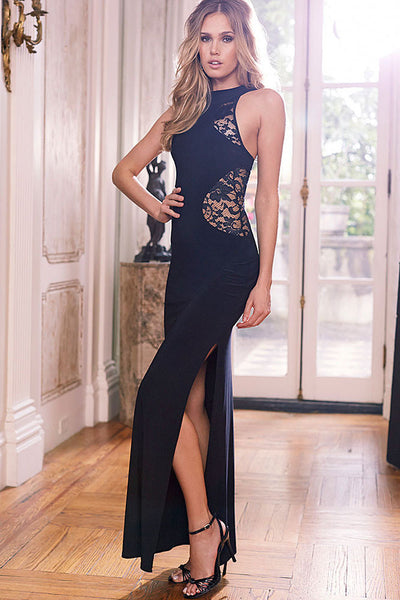 Chic Black Lace Cutout Slits Maxi Her Sexy Dress