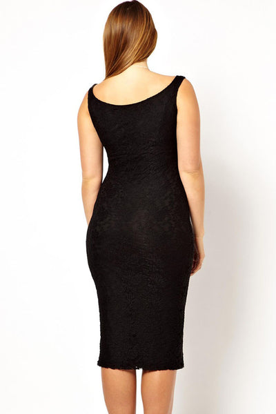 Chic Black Lace Plus Size Dress