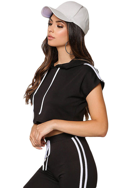 Chic Black Sporty Look Hoodie Jersey Knit Her Crop Top Pant Set
