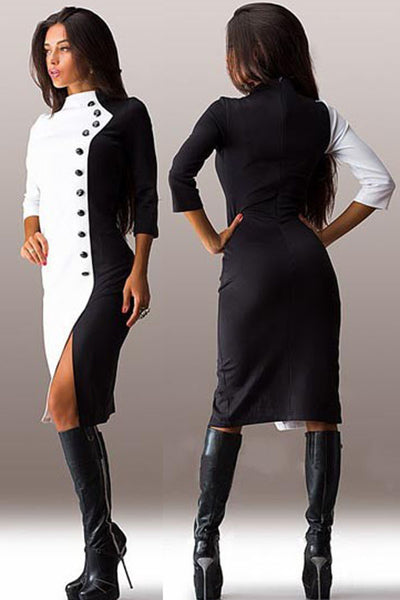 Chic Classic Black White Button Sleeved Midi Dress