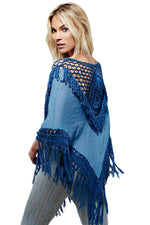 Chic Crochet Hollow-out Blue Sundial Poncho