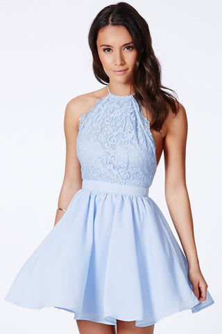 HisandHerFashion Chic Cross Back Lace Backless Design Party Baby Blue Dress