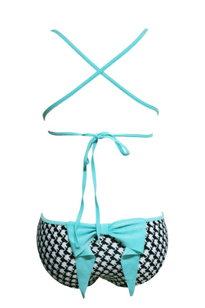 Chic Fashion Print Bow Accent Bikini Swimsuit
