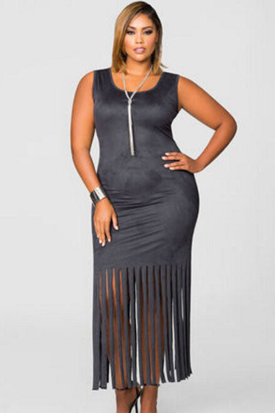 Chic Faux Suede Fringe Hem Full-figured Grey Women Dress