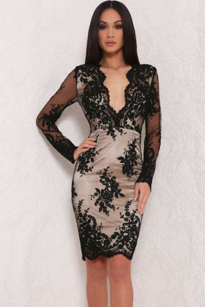 Chic Floral Lace Overlay Lined scalloped edge Black Mini Dress
