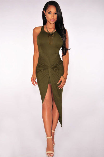 Chic Green Knotted Front Slit And Asymmetric Hem Dress
