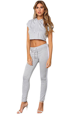 Chic Grey Sporty Look Hoodie Jersey Knit Her Crop Top Pant Set