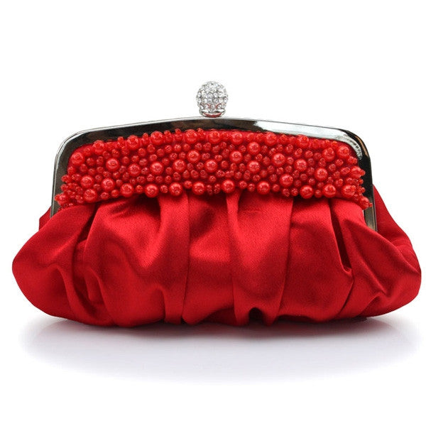 Chic Hand-beaded Satin Rhinestone Decoration Women's Evening Bag Clutches Purse