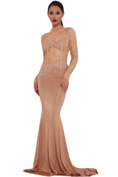 Chic HerFashion Khaki Sheer Sparkle Mock Neck Maxi Evening Gown