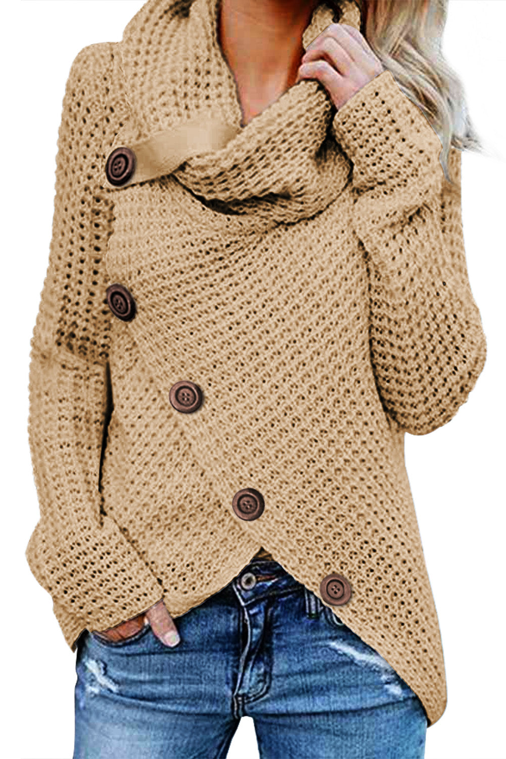 Chic Her Fashion Beige Buttoned Wrap Turtleneck Sweater