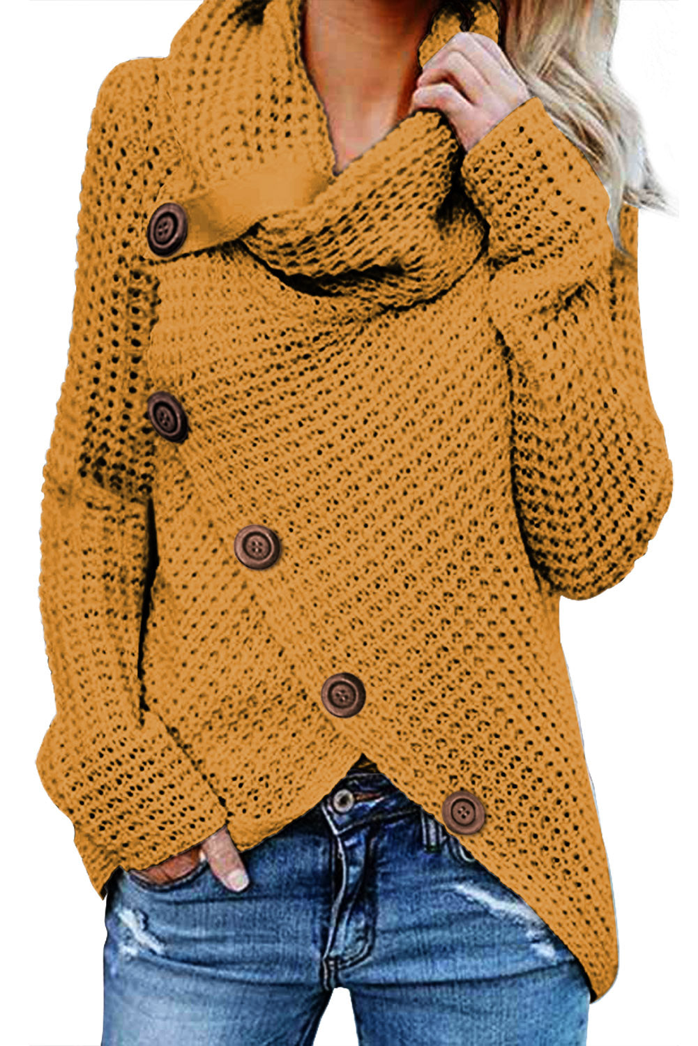 Chic Her Fashion Mustard Buttoned Wrap Turtleneck Sweater
