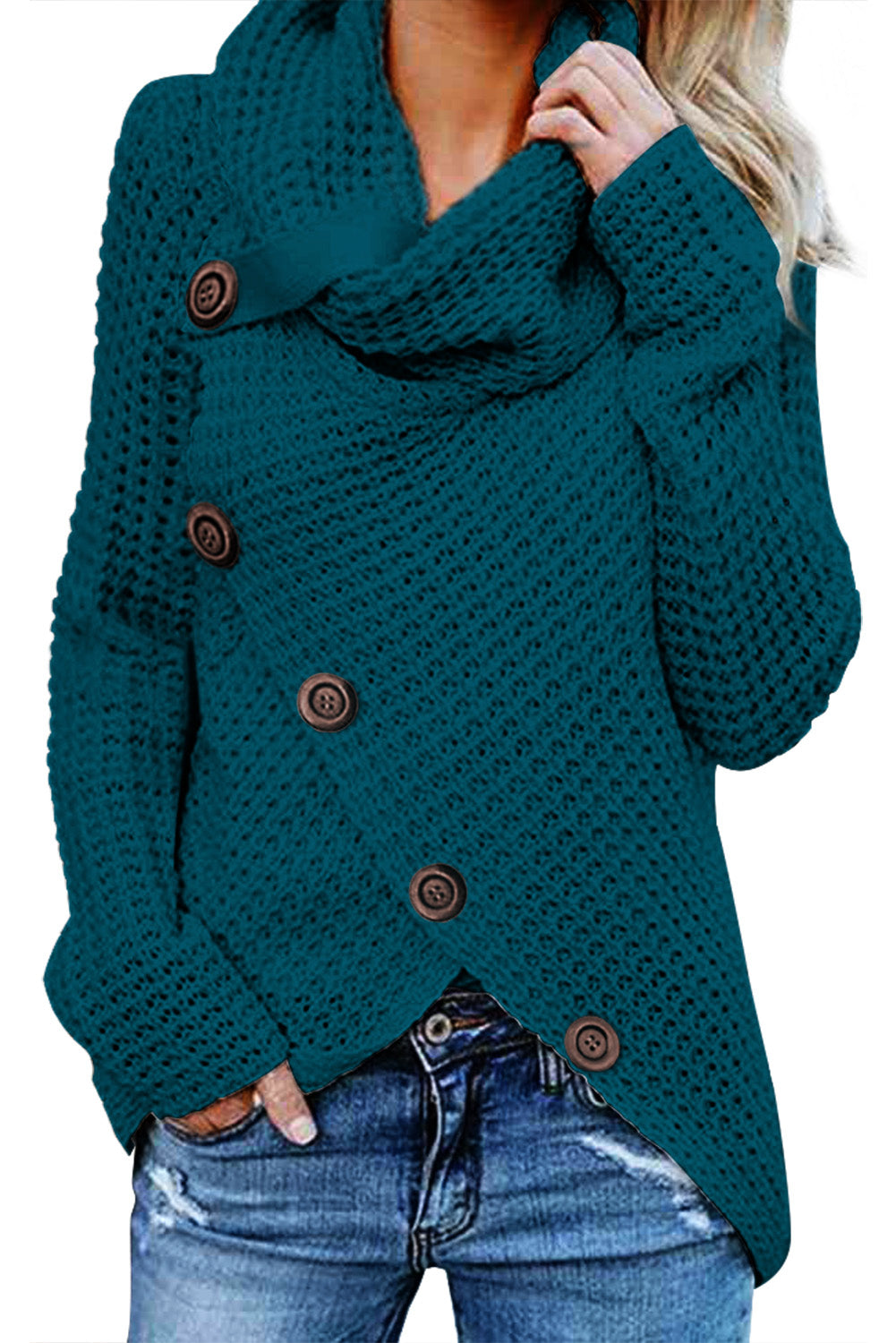 Chic Her Fashion Slate Blue Buttoned Wrap Turtleneck Sweater