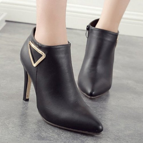 Chic Metal and Pointed Toe Design Women's Ankle Boots