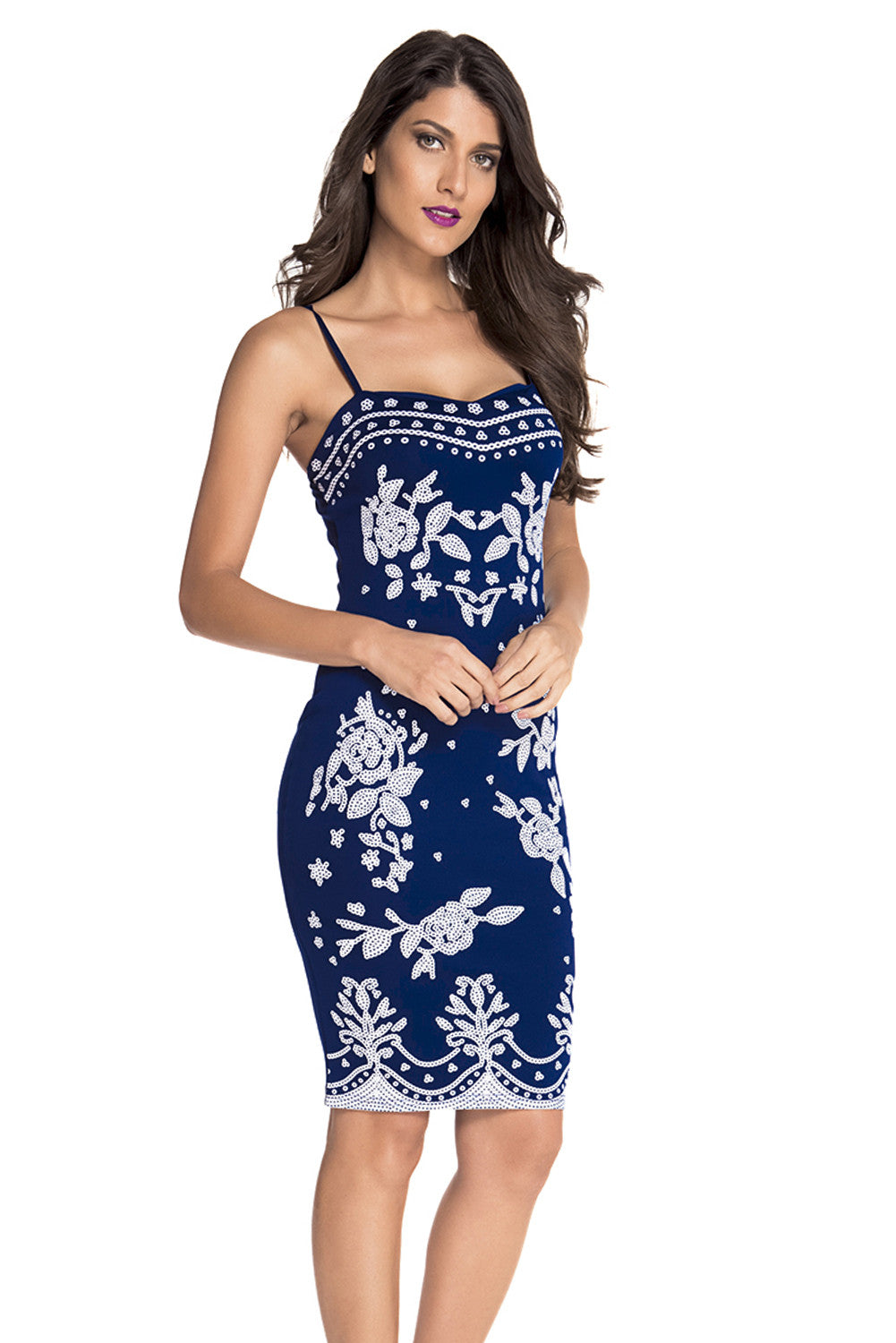 Chic Navy Spaghetti Straps Floral Print Midi Dress