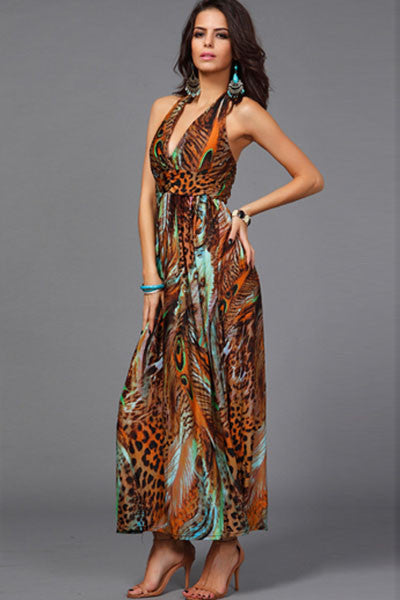 Chic Peacock Feather Coffee Print Maxi Dress