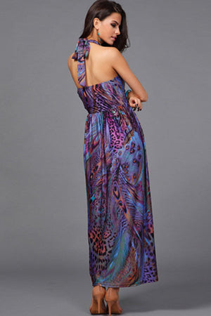 Chic Peacock Feather Purple Print Maxi Dress
