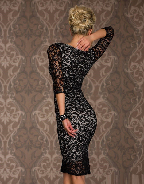 """Chic Series"" Black Knee Length Vintage Full Lace Women Dress"