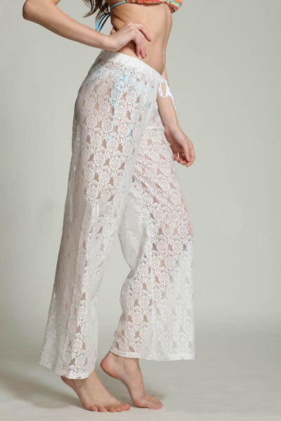 """Chic Series""  Crochet Floral Beach Swimwear Cover Up Lace Casual Long Pants"