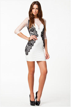 chic series long sleeves white bodycon evening dress