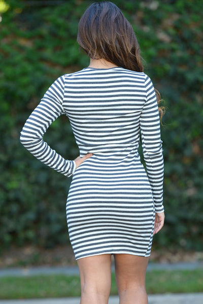 Chic Series Long Sleeve Striped Lace-up Mini Dress