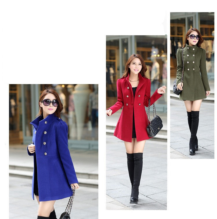 """Chic Series"" Long Winter Wool Outerwear Windbreaker Coat"