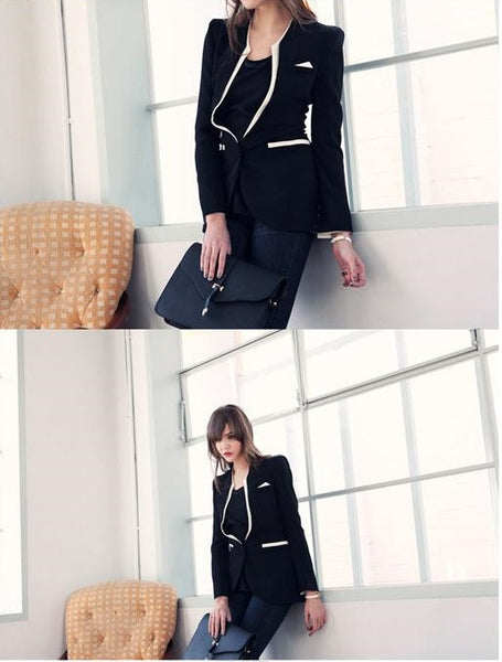 """Chic Series"" Patchwork High Quality White Black Slim Blazer"