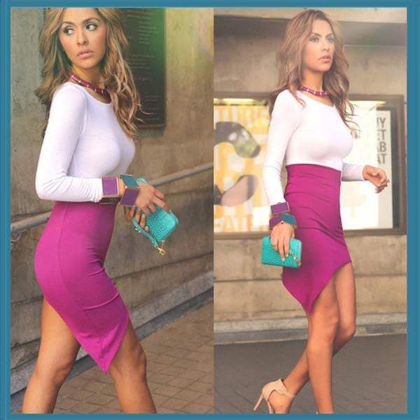 """Chic Series""  Round Neck Long Sleeves Sheath Purple Hollow Out Waist Irregular"