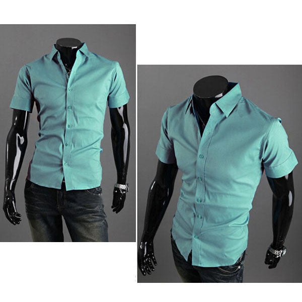 Chic Series Summer Men Bright Shirt of Short Sleeve