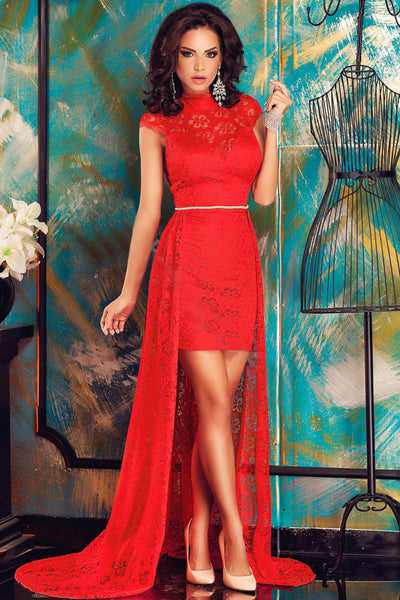 Chic Short Red Lace High Neck Dress with Train