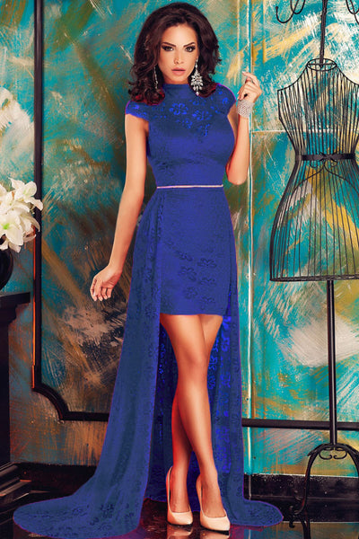 Chic Short Royal Blue Lace High Neck Dress with Train