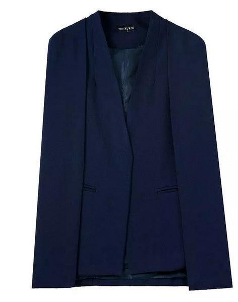 Chic Solid Color Cape Women Shawl Blazer