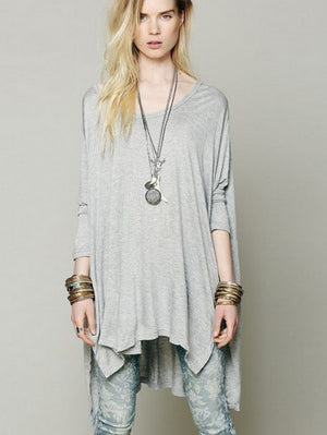 Chic Solid Color Split Cap Long Sleeve Loose Cut Tees