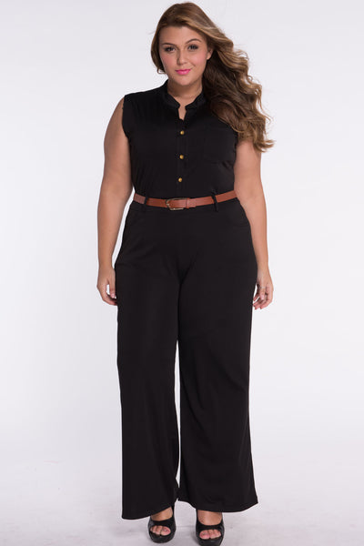 Chic Standup Collar Black Belted Wide Leg Jumpsuit