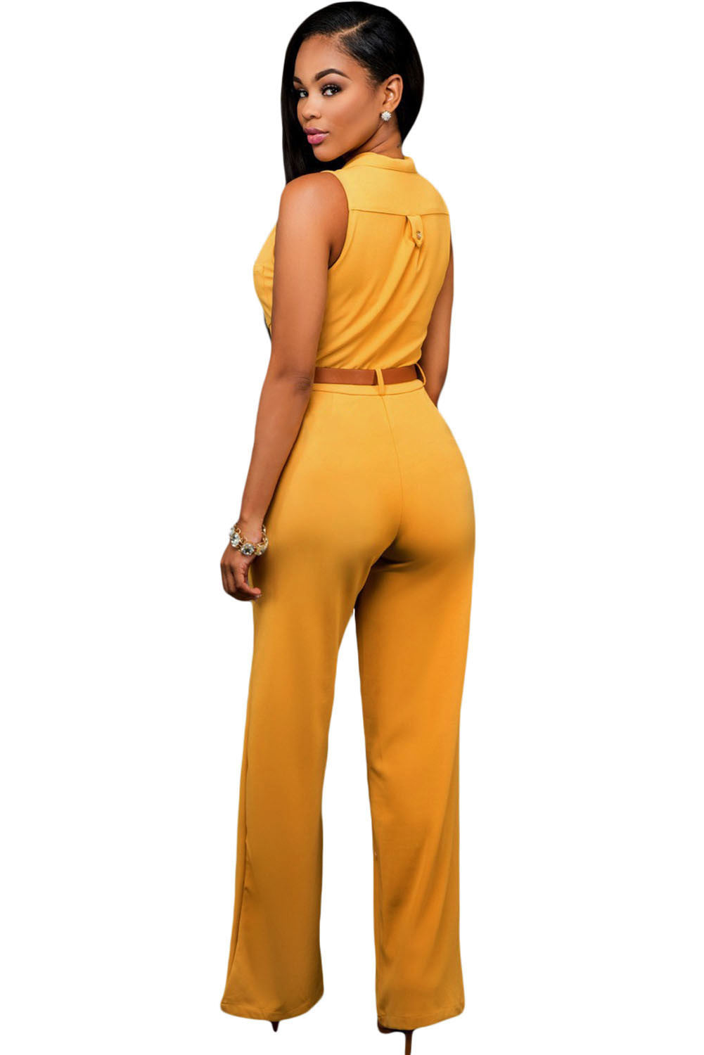 Chic Standup Collar Mustard Belted Wide Leg Jumpsuit