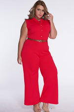 Chic Standup Collar Red Belted Wide Leg Jumpsuit