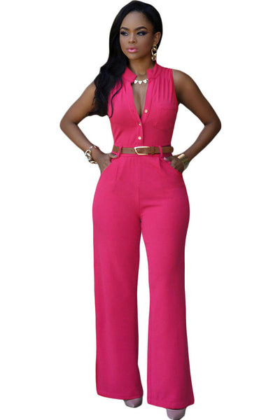 Chic Standup Collar Rosy Belted Wide Leg Jumpsuit