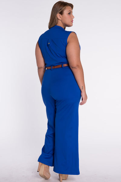 Chic Standup Collar Royal Blue Belted Wide Leg Jumpsuit
