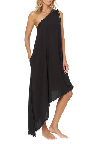 Chic Style Her Fashion Black One-Shoulder Maxi Beach Cover-Up Dress