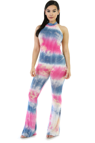 Chic Style Rosy Blend Tie-Dye One-piece Bell Bottom Jumper