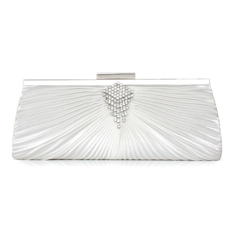 Chic Style Silk Shell Rhinestone Women's Bag Clutches Purse