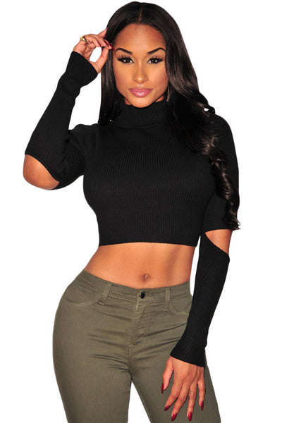 Chic Sweater Black Ribbed Knit Cut Out Sleeves Crop Top