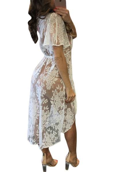Chic Black Embroidered Flowers Sheer Lace Her Fashion Cover Dress