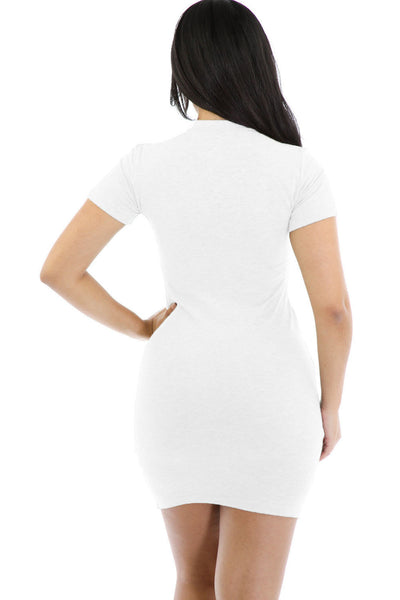 Chic White Funky Zipper Closure Mini Dress
