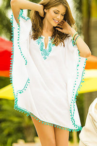 Chic White Pompom Trim Embroidered Chiffon Coverup