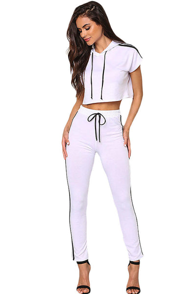 Chic White Sporty Look Hoodie Jersey Knit Her Crop Top Pant Set
