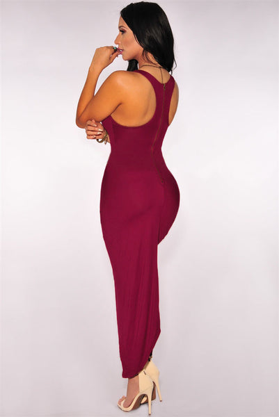 Chic Burgundy Knotted Front Slit And Asymmetric Hem Dress