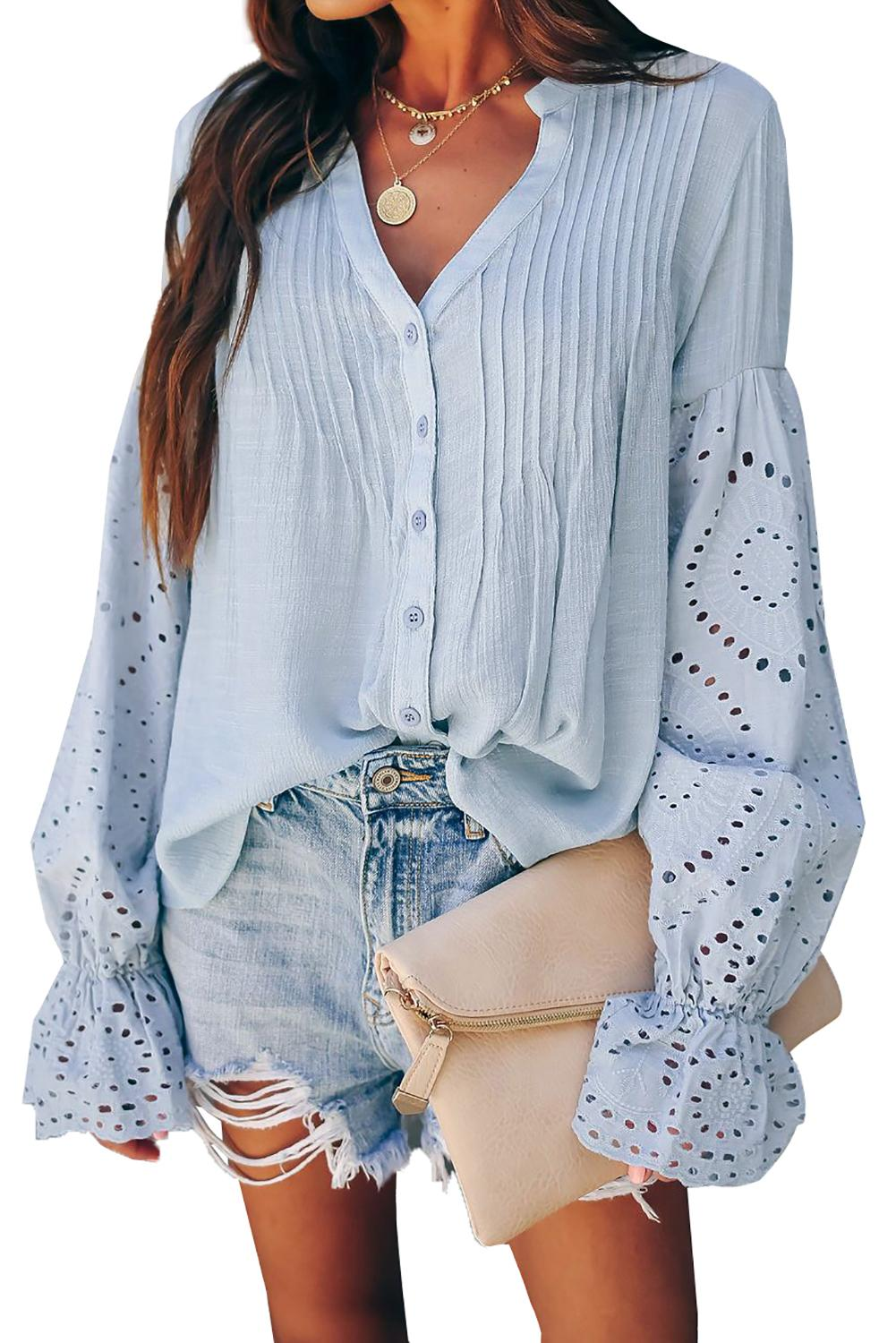Womens Top Blue Split Neckline Eyelet Detailed Long Sleeves Blouse