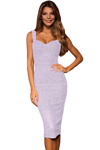 Chic and Stunning Her Fashion Violet Sleeveless Glitter Midi Dress