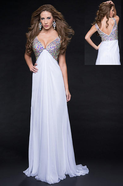 Chiffon Art Deco-inspired Crystal Beaded V-Neck Deep Prom Dress