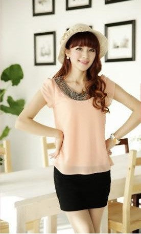 Chiffon Casual Vintage Blouses With Beading O-Neck Pullover European New Fashion